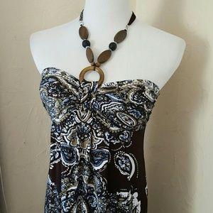 Carole Little tropical resort maxi column dress